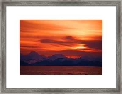 Sunset Over Glacier Bay Framed Print