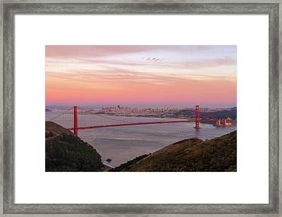 Sunset Over Golden Gate Bridge And San Francisco Skyline Framed Print