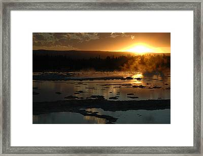 Sunset Over Great Fountain Geyser In Yellowstone National Park Framed Print