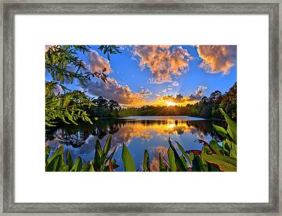 Sunset Over Hidden Lake In Jupiter Florida Framed Print