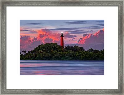 Framed Print featuring the photograph Sunset Over Jupiter Lighthouse, Florida by Justin Kelefas