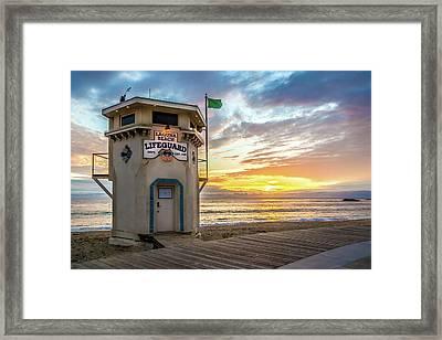 Framed Print featuring the photograph Sunset Over Laguna Beach Lifeguard Station by Cliff Wassmann
