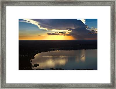 Sunset Over Lake Framed Print by Carolyn Marshall
