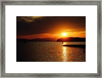 Sunset Over Lake Champlain Framed Print