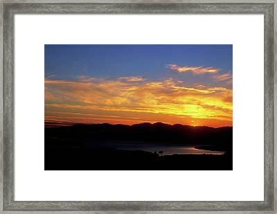 Sunset Over Lake Champlain From Mount Philo Framed Print by John Burk