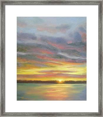 Sunset Over Lake Framed Print