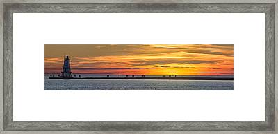 Framed Print featuring the photograph Sunset Over Ludington Panoramic by Adam Romanowicz