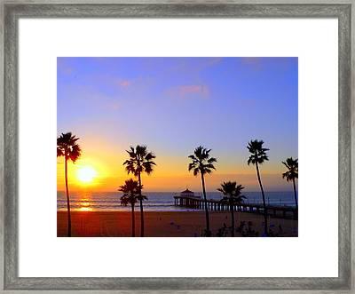 Sunset Over Manhattan Beach Framed Print by Jeff Lowe