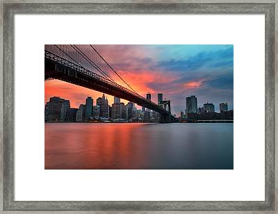 Sunset Over Manhattan Framed Print by Larry Marshall