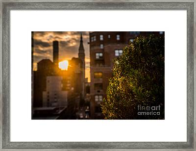 Sunset Over Manhattan New York City Framed Print