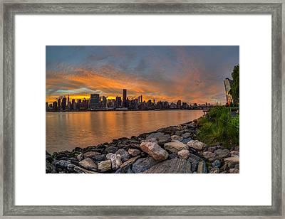 Sunset Over Manhattan Skyline, Gantry Framed Print