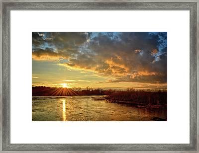 Sunset Over Marsh Framed Print by Bonfire Photography