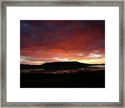 Framed Print featuring the painting Sunset Over Mormon Lake by Dennis Ciscel