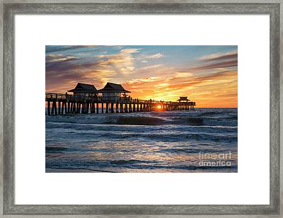 Framed Print featuring the photograph Sunset Over Naples Pier by Brian Jannsen
