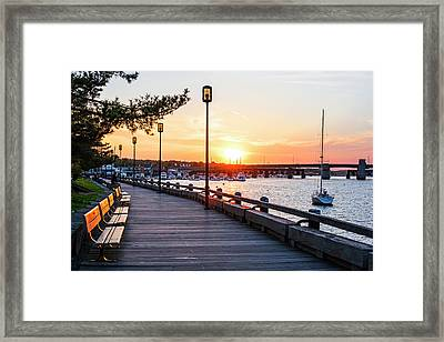 Sunset Over Newburyport Ma Merrimack River Newburyport Turnpike Framed Print