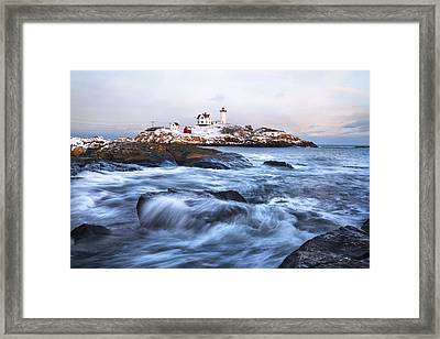 Sunset Over Nubble Light Framed Print by Eric Gendron