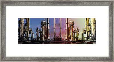 Sunset Over Oil And Gas Industry Framed Print by Christian Lagereek