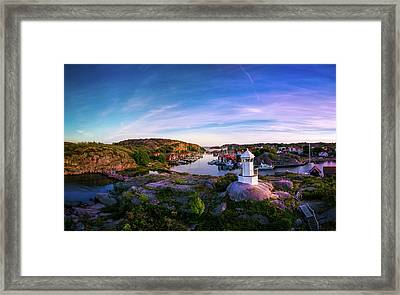 Sunset Over Old Fishing Port - Aerial Photography Framed Print