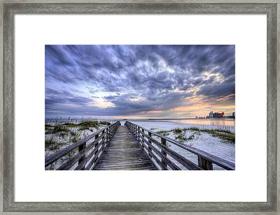 Sunset Over Orange Beach Framed Print by JC Findley