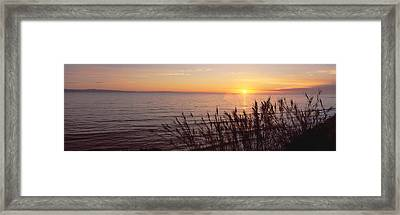 Sunset Over Pacific Ocean Near Santa Framed Print by Panoramic Images