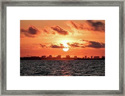 Sunset Over Panama City Beach Framed Print by Debra Forand