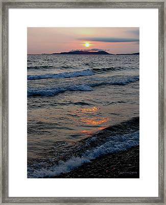 Sunset Over Pic Island Framed Print by Laura Wergin Comeau