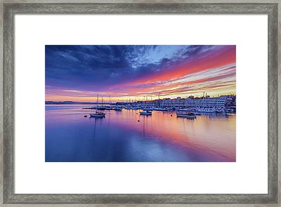 Sunset Over Plymouth From  Sound From Roayl William Dock Yard Framed Print by Maggie McCall