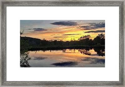 Sunset Over Pond Framed Print