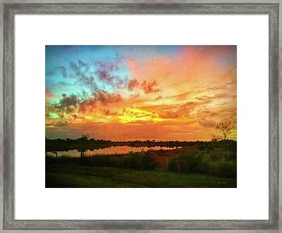Sunset Over Pond Framed Print by Korrine Holt