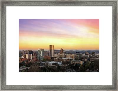 Sunset Over Portland Cityscape And Mt Hood Framed Print