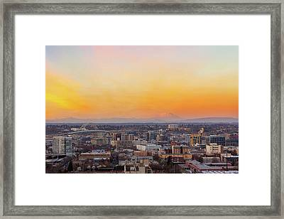 Sunset Over Portland Cityscape And Mt Saint Helens Framed Print