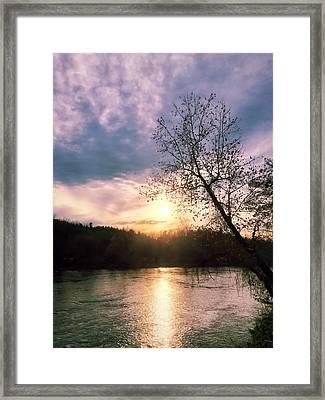 Sunset Over River Framed Print