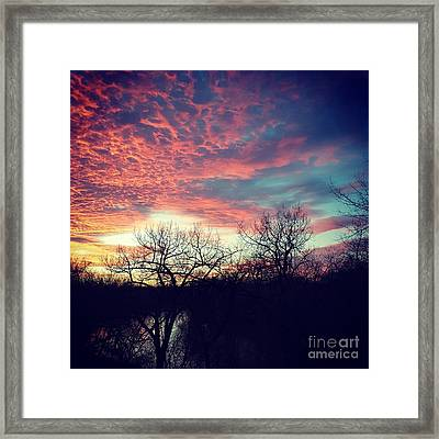 Sunset Over River Framed Print