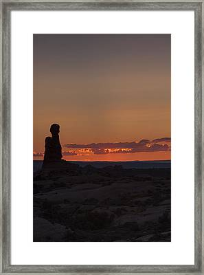 Sunset Over Rock Formation Framed Print