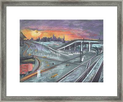 Sunset Over San Francisco And Oakland Train Tracks Framed Print by Asha Carolyn Young