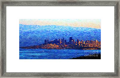 Sunset Over San Francisco Bay Framed Print by Wingsdomain Art and Photography