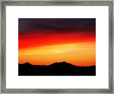 Sunset Over Santa Fe Mountains Framed Print