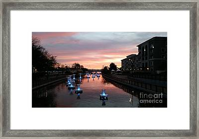 Sunset Over Spiraling Droplets In Arizona Canal By Heather J Kirk  Framed Print