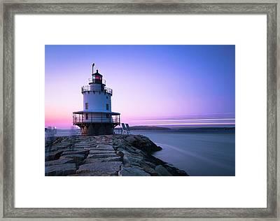 Sunset Over Spring Breakwater Lighthouse In South Maine Framed Print