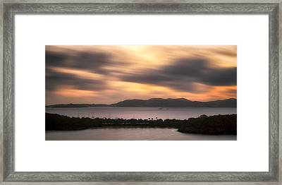 Framed Print featuring the photograph Sunset Over St. John And St. Thomas Panoramic by Adam Romanowicz