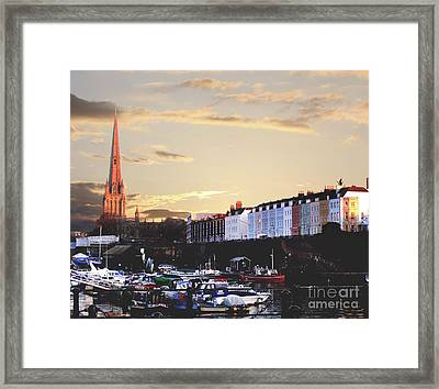Framed Print featuring the photograph Sunset Over St Mary Redcliffe Bristol by Terri Waters