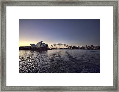 Sunset Over Sydney Harbor Bridge And Sydney Opera House Framed Print