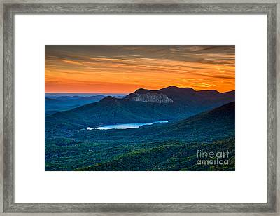 Sunset Over Table Rock From Caesars Head State Park South Carolina Framed Print