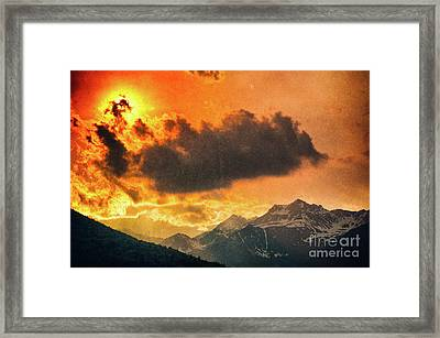 Framed Print featuring the photograph Sunset Over The Alps by Silvia Ganora