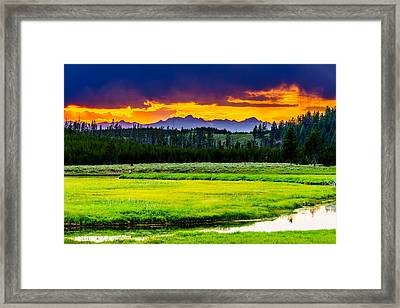 Sunset Over The Bitterroots Framed Print by TL  Mair