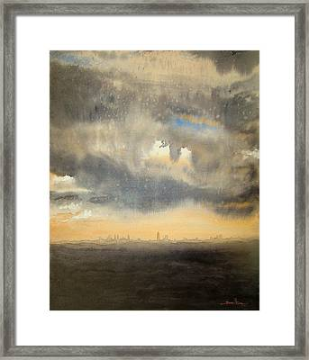 Framed Print featuring the painting Sunset Over The City by Andrew King