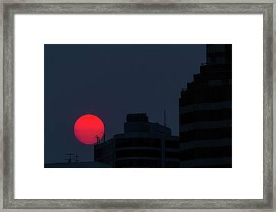 Sunset Over The City Of Portland Oregon Framed Print