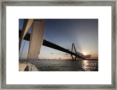 Sunset Over The Cooper River Bridge Charleston Sc Framed Print