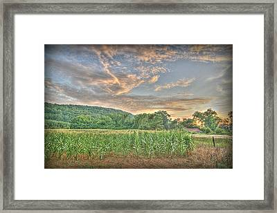 Sunset Over The Fields Framed Print