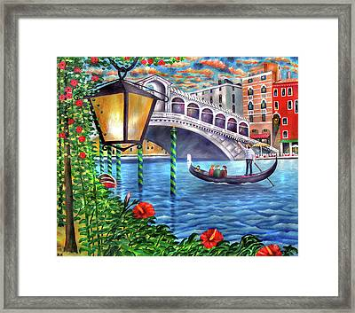 Sunset Over The Grand Canal - Venice Framed Print by Ronald Haber
